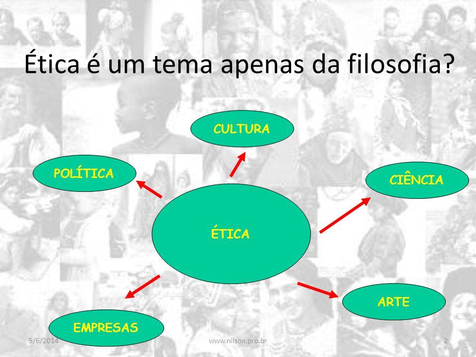 Ética é um tema apenas da filosofia? ÉTICA CULTURA POLÍTICA ARTE EMPRESAS CIÊNCIA 5/6/20142www.nilson.pro.br