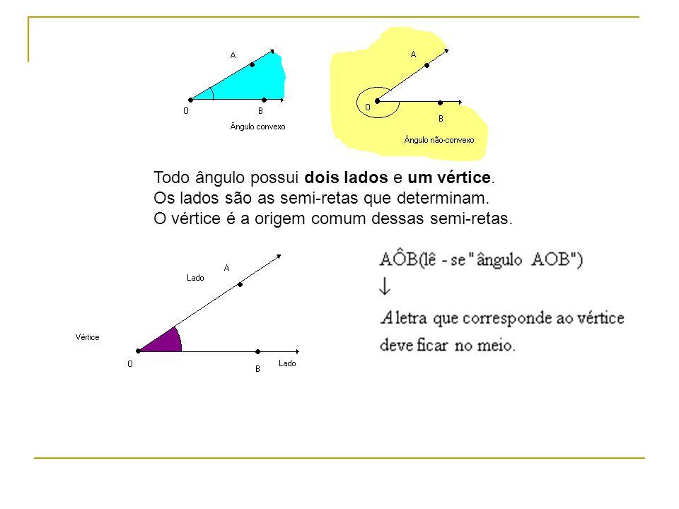 Todo ângulo possui dois lados e um vértice. Os lados são as semi-retas que determinam. O vértice é a origem comum dessas semi-retas.