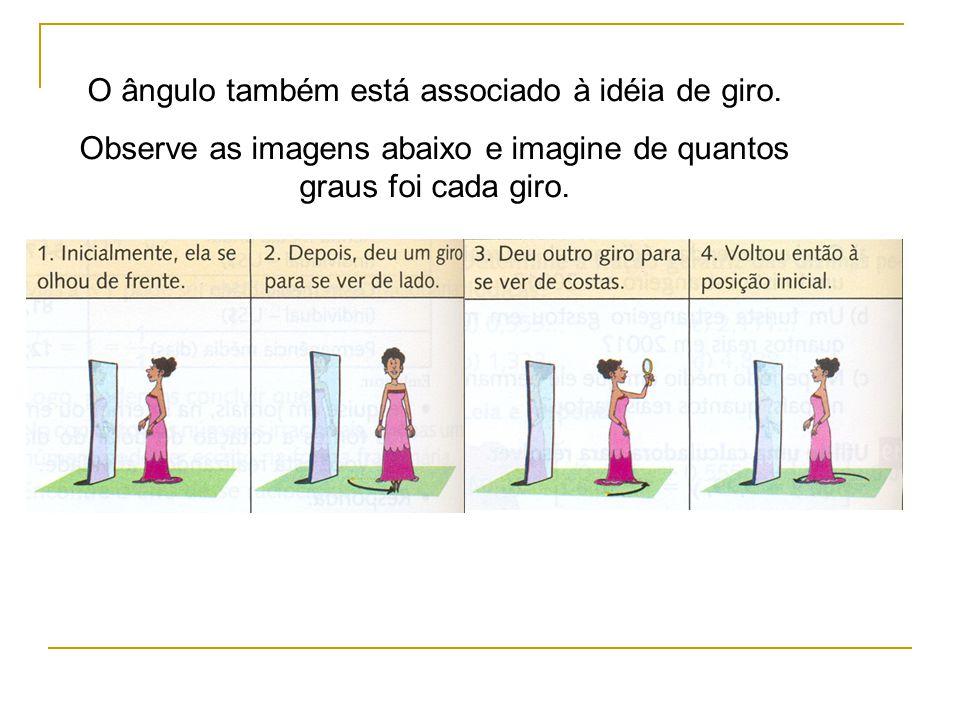 O ângulo também está associado à idéia de giro. Observe as imagens abaixo e imagine de quantos graus foi cada giro.