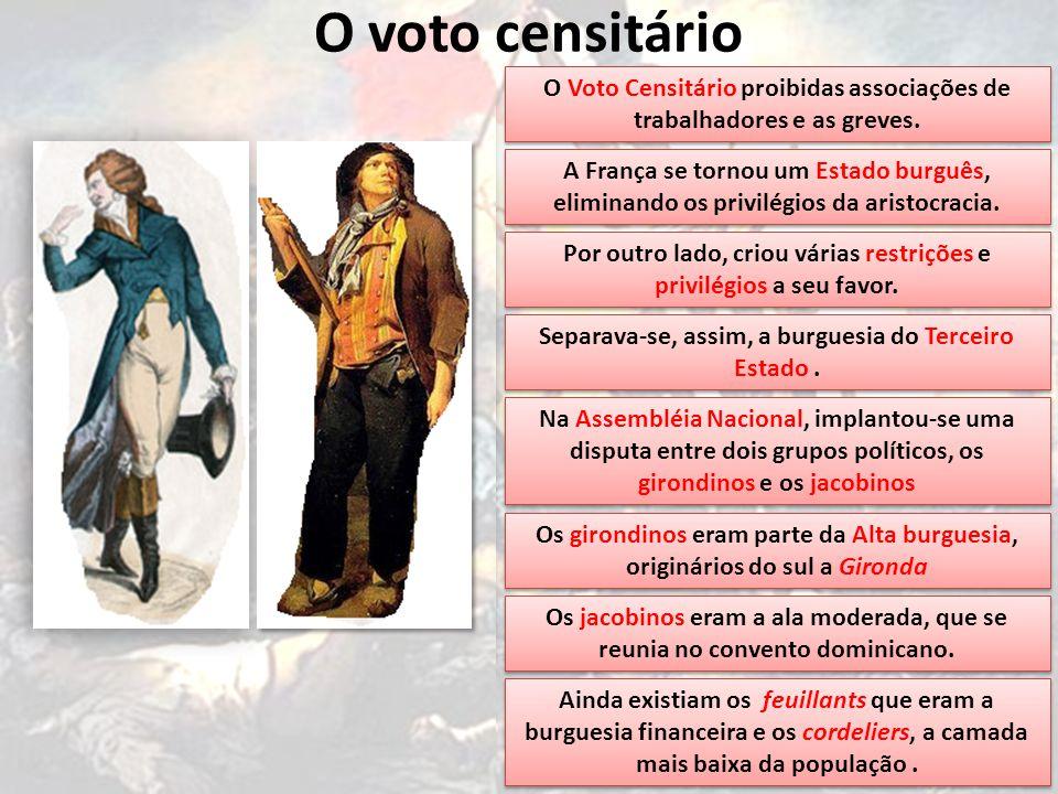 O voto censitário O Voto Censitário proibidas associações de trabalhadores e as greves.