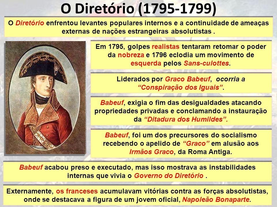 O Diretório (1795-1799) O Diretório enfrentou levantes populares internos e a continuidade de ameaças externas de nações estrangeiras absolutistas.