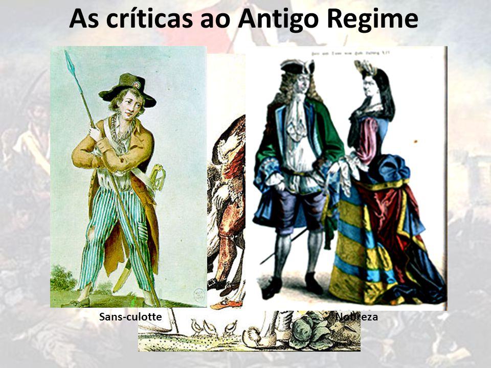 As críticas ao Antigo Regime Alto Clero 1º ESTADO 0,5% da população Baixo Clero 2º ESTADO 1,5% da população 3º ESTADO Sans-culotteNobreza