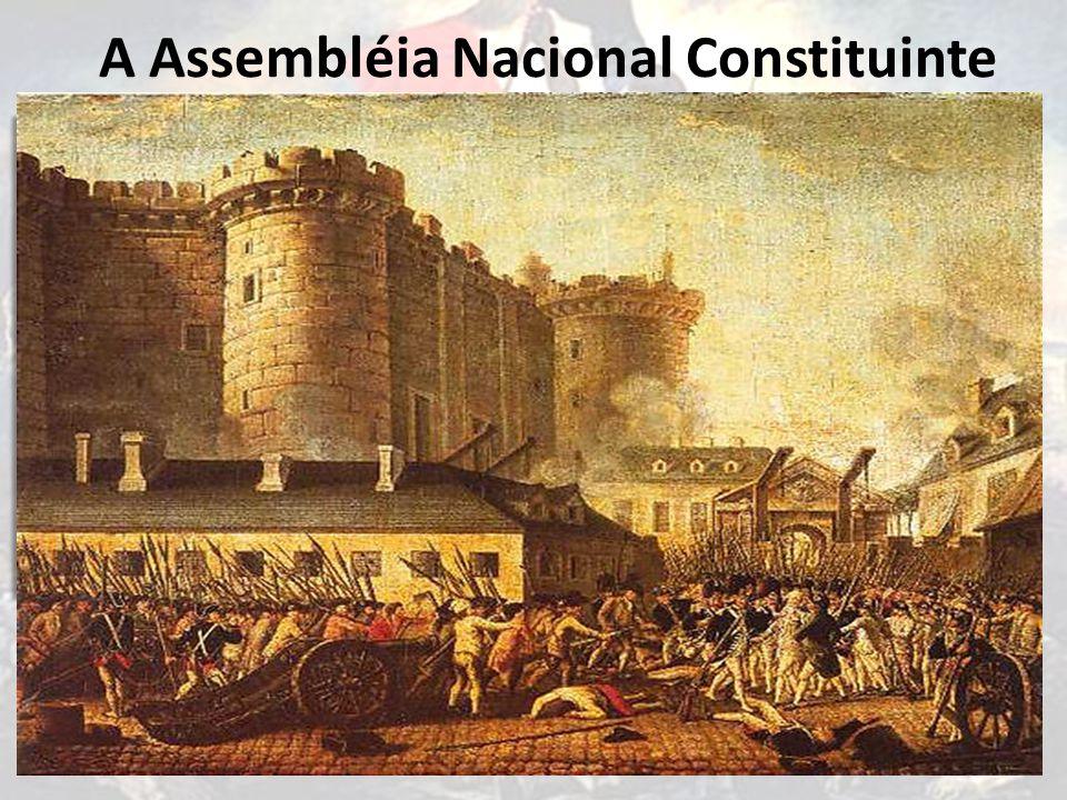 A Assembléia Nacional Constituinte A 9 de julho de 1789, os deputados se declararam em Assembléia Nacional Constituinte O rei, Luís XVI, reuniu forças para enfrentar a Assembléia, colocando o Barão de Bretevil como ministro.