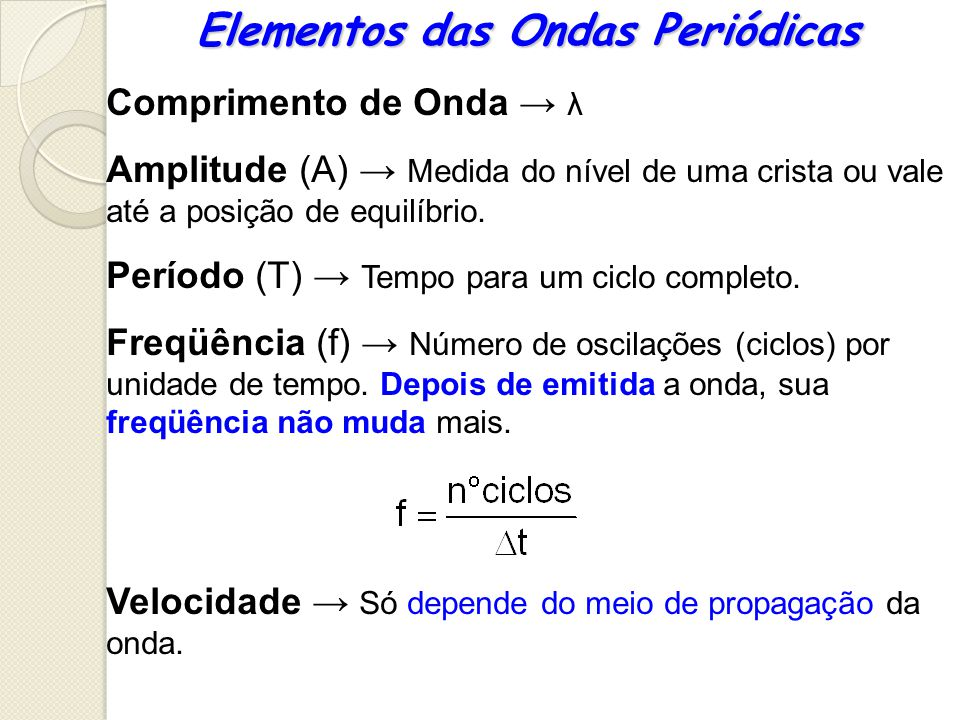 Elementos das Ondas Periódicas Comprimento de Onda λ Amplitude (A) Medida do nível de uma crista ou vale até a posição de equilíbrio. Período (T) Temp