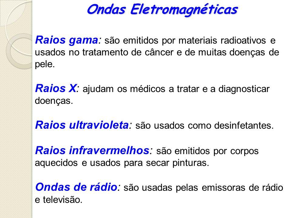 Ondas Eletromagnéticas Raios gama: são emitidos por materiais radioativos e usados no tratamento de câncer e de muitas doenças de pele. Raios X: ajuda