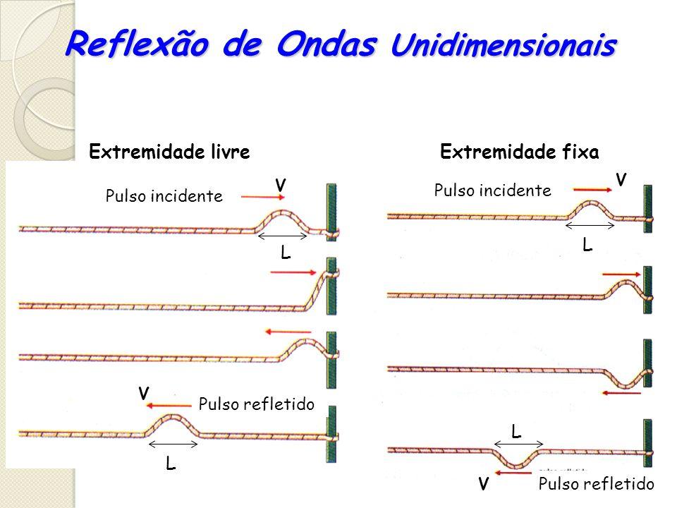 Reflexão de Ondas Unidimensionais Pulso incidente Pulso refletido Extremidade livreExtremidade fixa L L L L V V V V