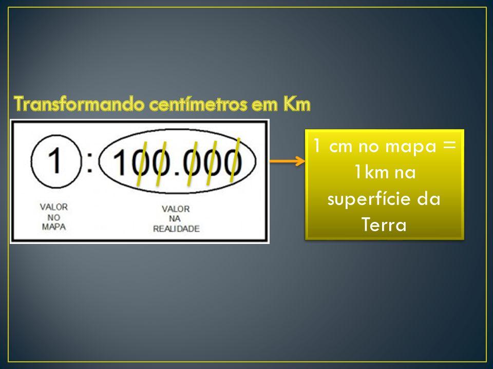 1 cm no mapa = 1km na superfície da Terra