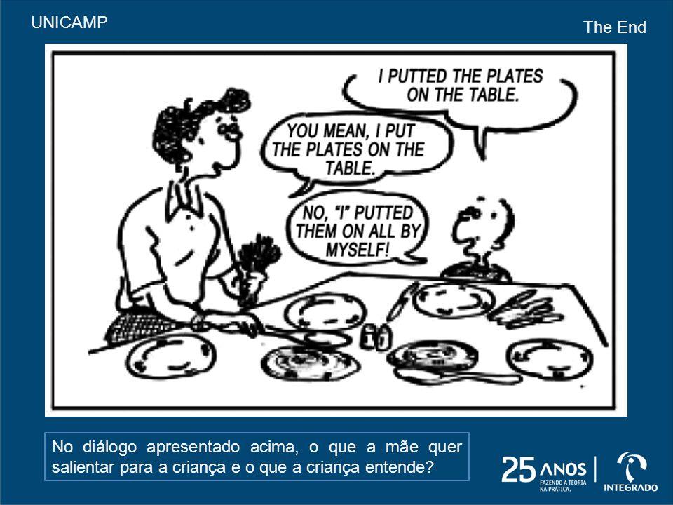 No diálogo apresentado acima, o que a mãe quer salientar para a criança e o que a criança entende? UNICAMP The End
