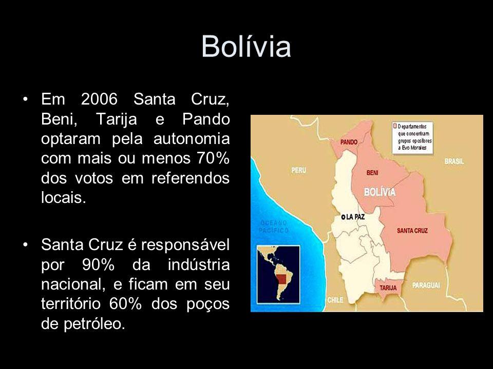 Bolívia Em 2006 Santa Cruz, Beni, Tarija e Pando optaram pela autonomia com mais ou menos 70% dos votos em referendos locais.