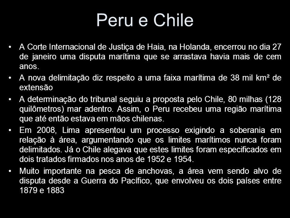Peru e Chile A Corte Internacional de Justiça de Haia, na Holanda, encerrou no dia 27 de janeiro uma disputa marítima que se arrastava havia mais de cem anos.