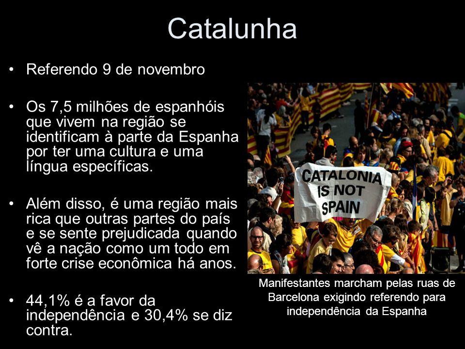 Catalunha Referendo 9 de novembro Os 7,5 milhões de espanhóis que vivem na região se identificam à parte da Espanha por ter uma cultura e uma língua específicas.