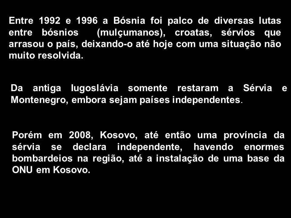 Entre 1992 e 1996 a Bósnia foi palco de diversas lutas entre bósnios (mulçumanos), croatas, sérvios que arrasou o país, deixando-o até hoje com uma situação não muito resolvida.