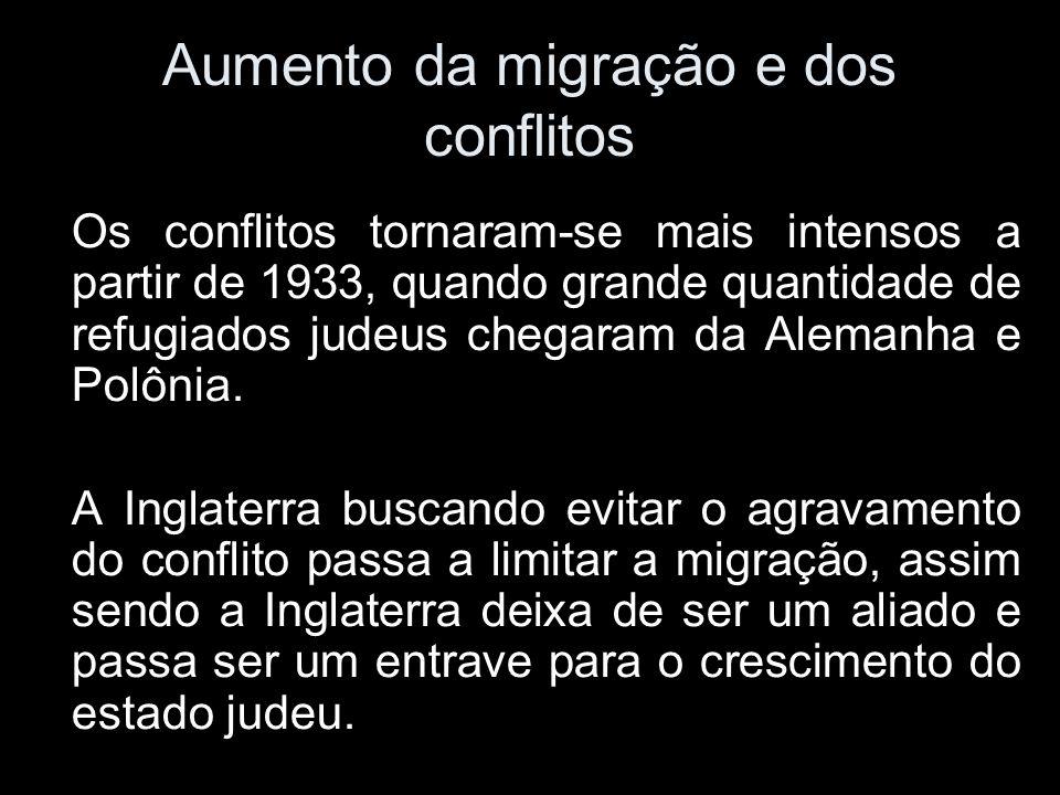 Aumento da migração e dos conflitos Os conflitos tornaram-se mais intensos a partir de 1933, quando grande quantidade de refugiados judeus chegaram da Alemanha e Polônia.