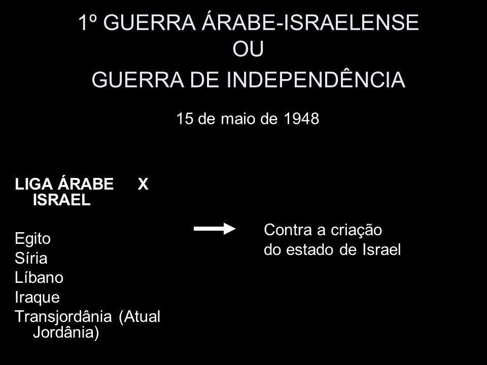 1º GUERRA ÁRABE-ISRAELENSE OU GUERRA DE INDEPENDÊNCIA LIGA ÁRABE X ISRAEL Egito Síria Líbano Iraque Transjordânia (Atual Jordânia) 15 de maio de 1948 Contra a criação do estado de Israel