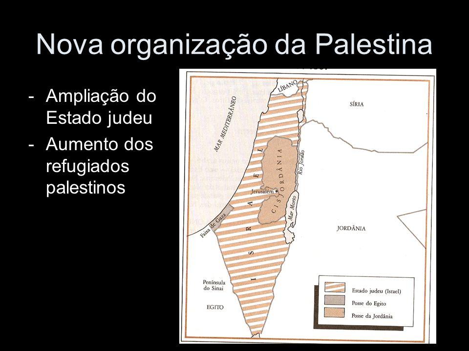 Nova organização da Palestina -Ampliação do Estado judeu -Aumento dos refugiados palestinos