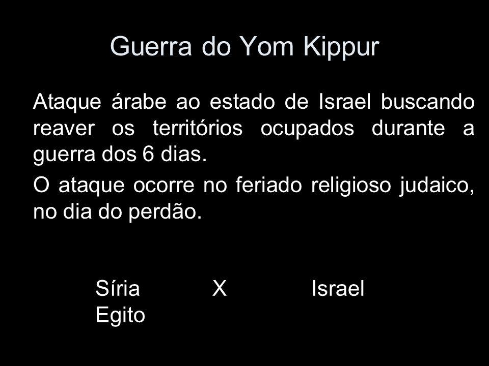 Guerra do Yom Kippur Ataque árabe ao estado de Israel buscando reaver os territórios ocupados durante a guerra dos 6 dias.