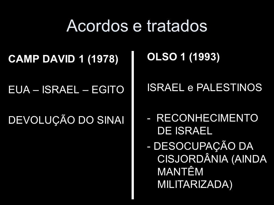 Acordos e tratados CAMP DAVID 1 (1978) EUA – ISRAEL – EGITO DEVOLUÇÃO DO SINAI OLSO 1 (1993) ISRAEL e PALESTINOS - RECONHECIMENTO DE ISRAEL - DESOCUPAÇÃO DA CISJORDÂNIA (AINDA MANTÊM MILITARIZADA)