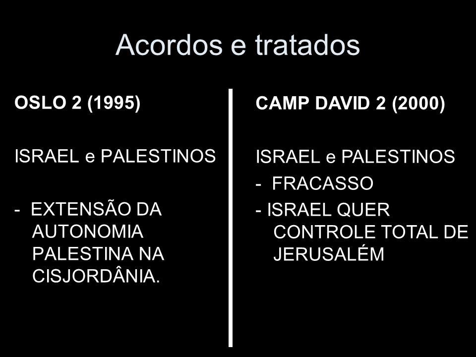 Acordos e tratados OSLO 2 (1995) ISRAEL e PALESTINOS - EXTENSÃO DA AUTONOMIA PALESTINA NA CISJORDÂNIA.