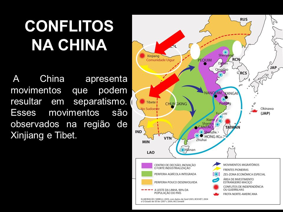 CONFLITOS NA CHINA A China apresenta movimentos que podem resultar em separatismo.