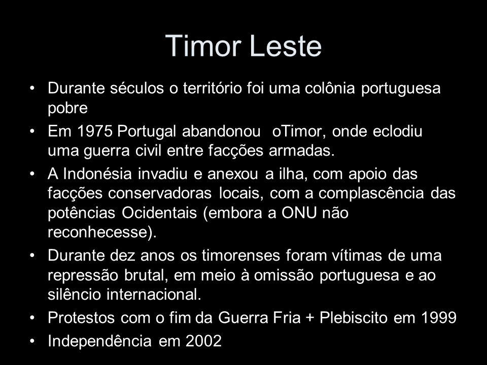 Durante séculos o território foi uma colônia portuguesa pobre Em 1975 Portugal abandonou oTimor, onde eclodiu uma guerra civil entre facções armadas.