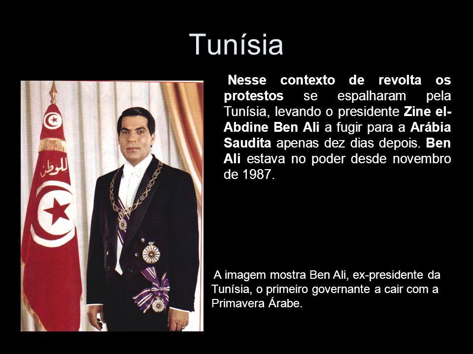 Nesse contexto de revolta os protestos se espalharam pela Tunísia, levando o presidente Zine el- Abdine Ben Ali a fugir para a Arábia Saudita apenas dez dias depois.