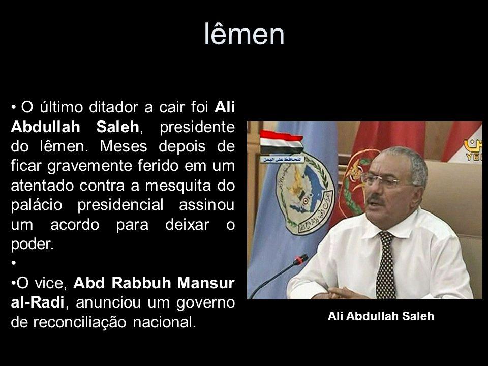 O último ditador a cair foi Ali Abdullah Saleh, presidente do Iêmen.