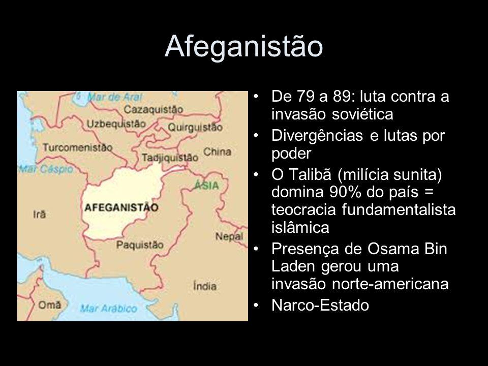 Afeganistão De 79 a 89: luta contra a invasão soviética Divergências e lutas por poder O Talibã (milícia sunita) domina 90% do país = teocracia fundamentalista islâmica Presença de Osama Bin Laden gerou uma invasão norte-americana Narco-Estado
