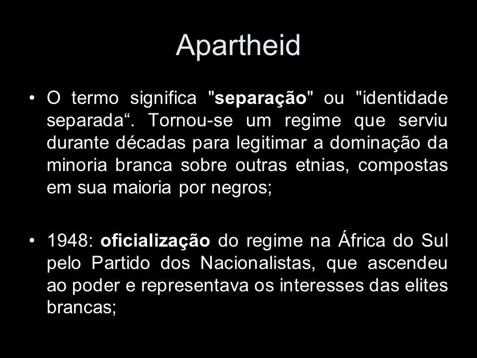 Apartheid O termo significa separação ou identidade separada.