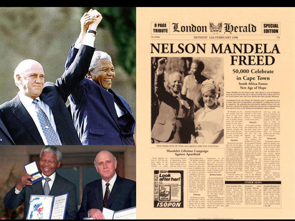 Os caminhos do fim do regime Anos 80: aumenta a pressão internacional para a libertação de Mandela; 1989: Frederic.