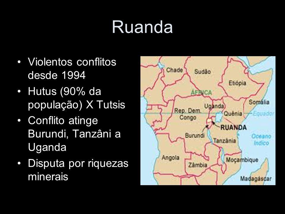 Ruanda Violentos conflitos desde 1994 Hutus (90% da população) X Tutsis Conflito atinge Burundi, Tanzâni a Uganda Disputa por riquezas minerais