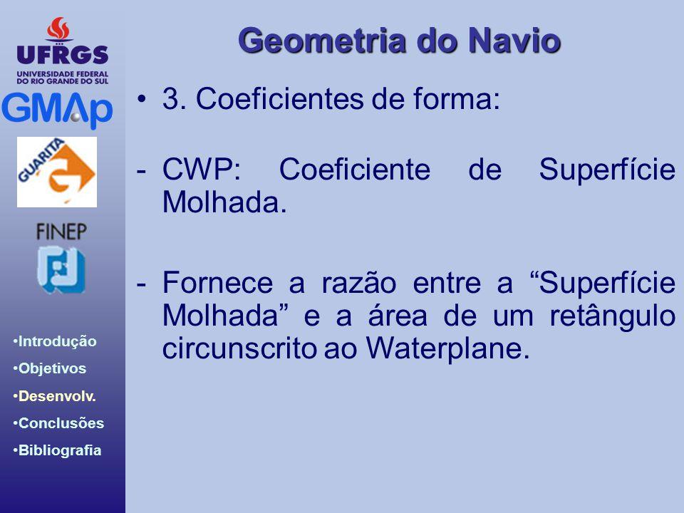 Geometria do Navio Introdução Objetivos Desenvolv. Conclusões Bibliografia 3. Coeficientes de forma: -CWP: Coeficiente de Superfície Molhada. -Fornece