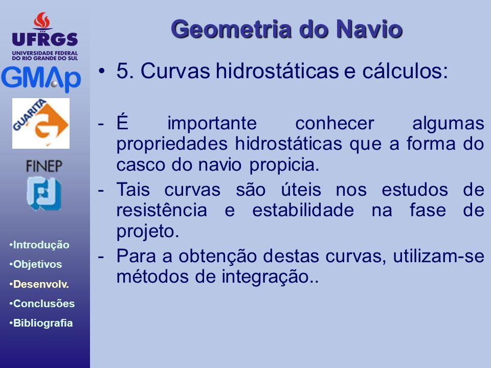 Geometria do Navio Introdução Objetivos Desenvolv. Conclusões Bibliografia 5. Curvas hidrostáticas e cálculos: -É importante conhecer algumas propried