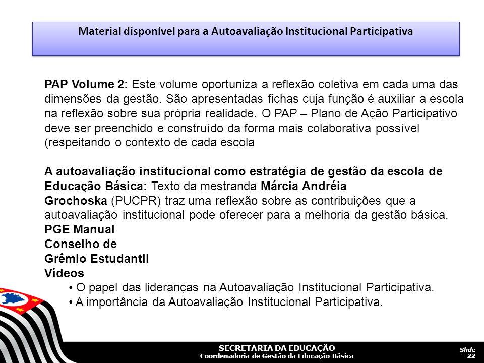 SECRETARIA DA EDUCAÇÃO Coordenadoria de Gestão da Educação Básica Slide 22 PAP Volume 2: Este volume oportuniza a reflexão coletiva em cada uma das dimensões da gestão.