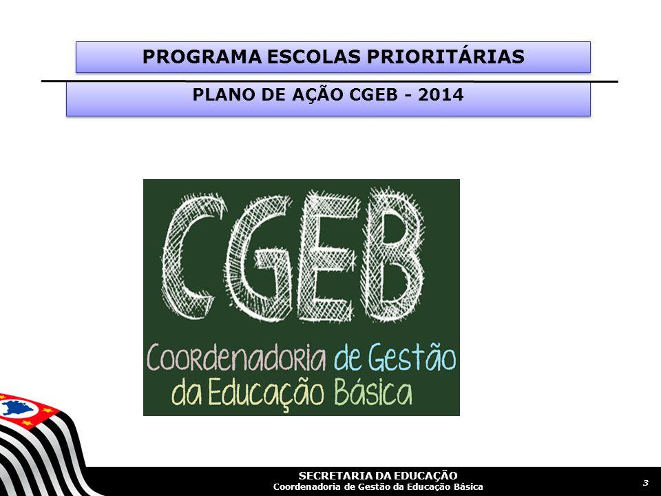 SECRETARIA DA EDUCAÇÃO Coordenadoria de Gestão da Educação Básica Slide 4 QUADRO GERAL - ESCOLAS PRIORITÁRIAS 5º ano 4ª Série9º ano 8ª SérieEnsino Médio Língua Portuguesa Matemática Língua Portuguesa Matemática Língua Portuguesa Matemática % de Alunos Abaixo do Básico >= 40%> =50%> =37%> =46%> =54%> =74% Critérios para seleção de Escolas Prioritárias