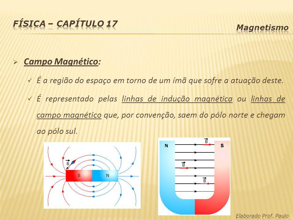 Campo Magnético: É a região do espaço em torno de um ímã que sofre a atuação deste. É representado pelas linhas de indução magnética ou linhas de camp