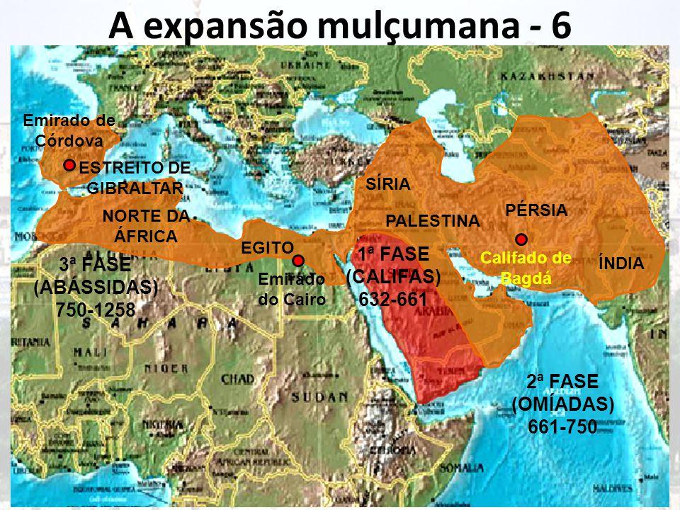 A expansão mulçumana - 6 Muhammad ou Maomé morreu pouco depois da conquista de Meca, deixando os árabes unidos num ideal, a Djihad.