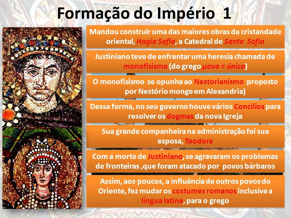 Formação do Império 1 Constantino, 330 Teodósio 395 Justiniano 527 Foi o mais importante dos Imperadores bizantinos Com o Cesaropapismo passou a ter s