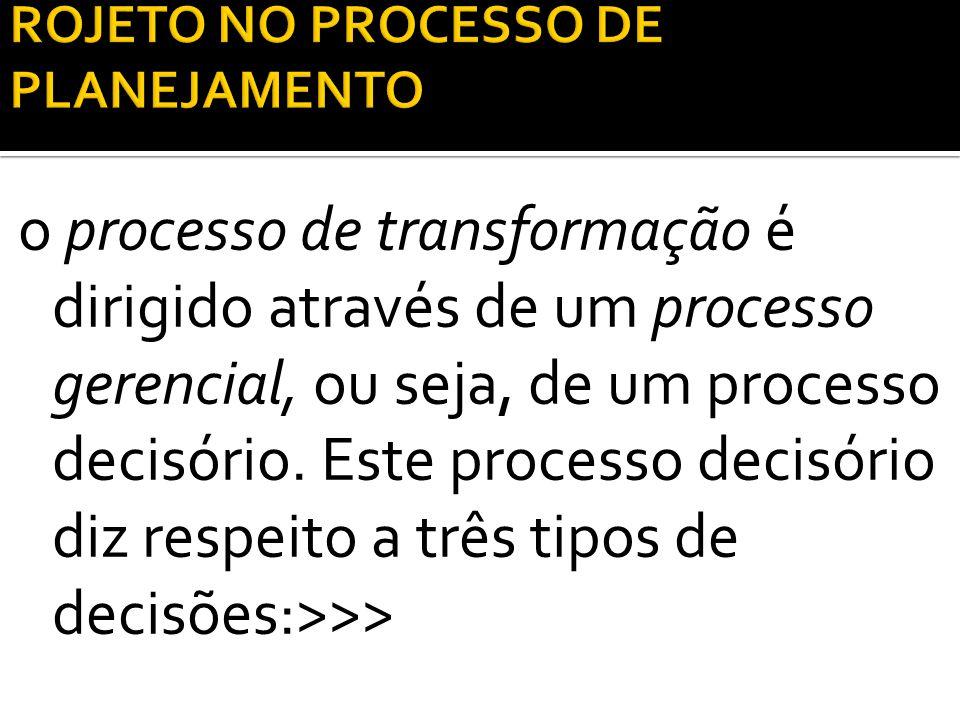 o processo de transformação é dirigido através de um processo gerencial, ou seja, de um processo decisório. Este processo decisório diz respeito a trê