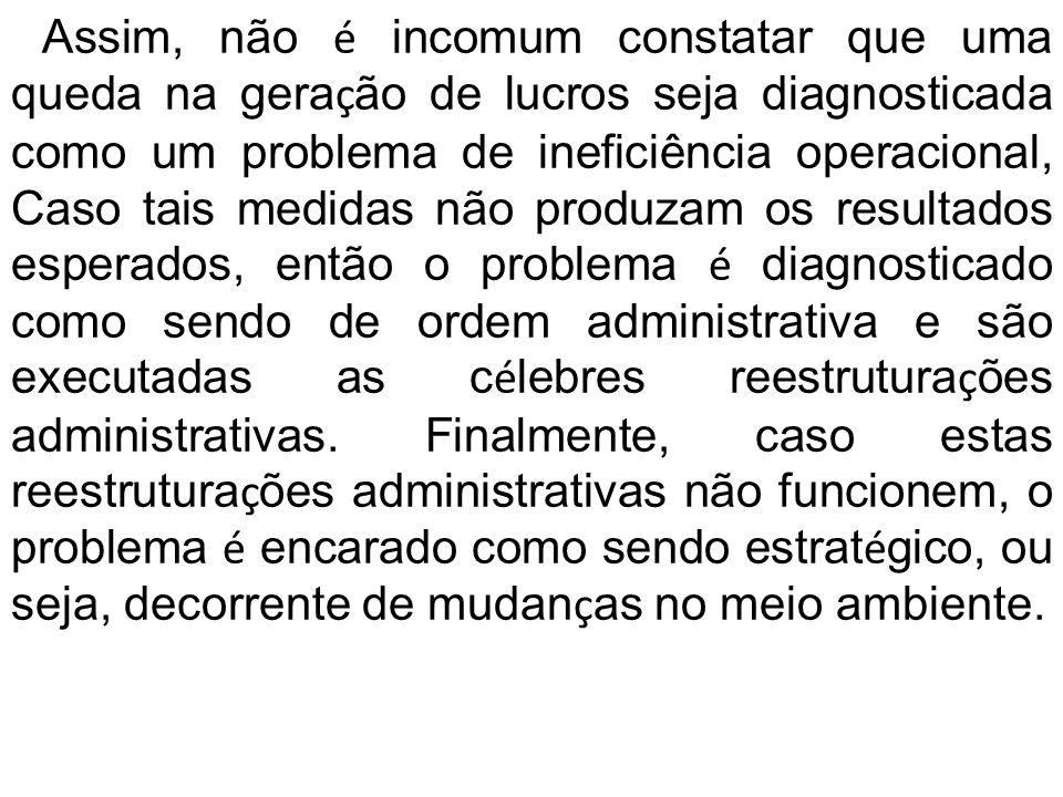 Assim, não é incomum constatar que uma queda na gera ç ão de lucros seja diagnosticada como um problema de ineficiência operacional, Caso tais medidas