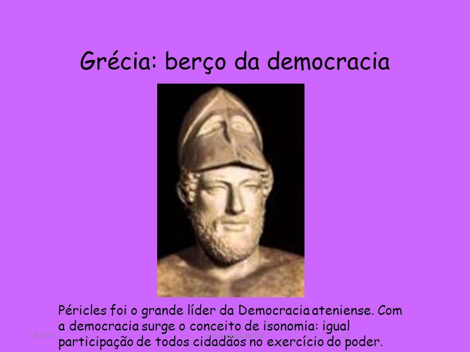 Grécia: berço da democracia Péricles foi o grande líder da Democracia ateniense. Com a democracia surge o conceito de isonomia: igual participação de