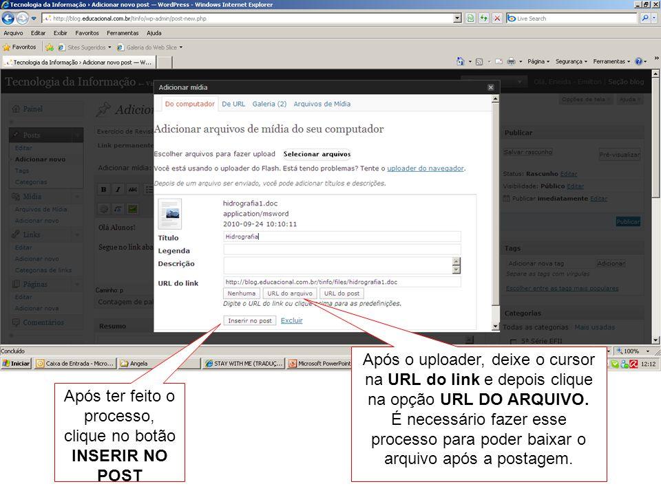 Após o uploader, deixe o cursor na URL do link e depois clique na opção URL DO ARQUIVO. É necessário fazer esse processo para poder baixar o arquivo a