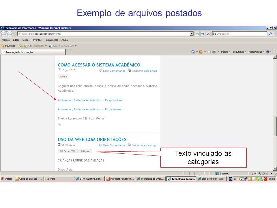 Exemplo de arquivos postados Texto vinculado as categorias