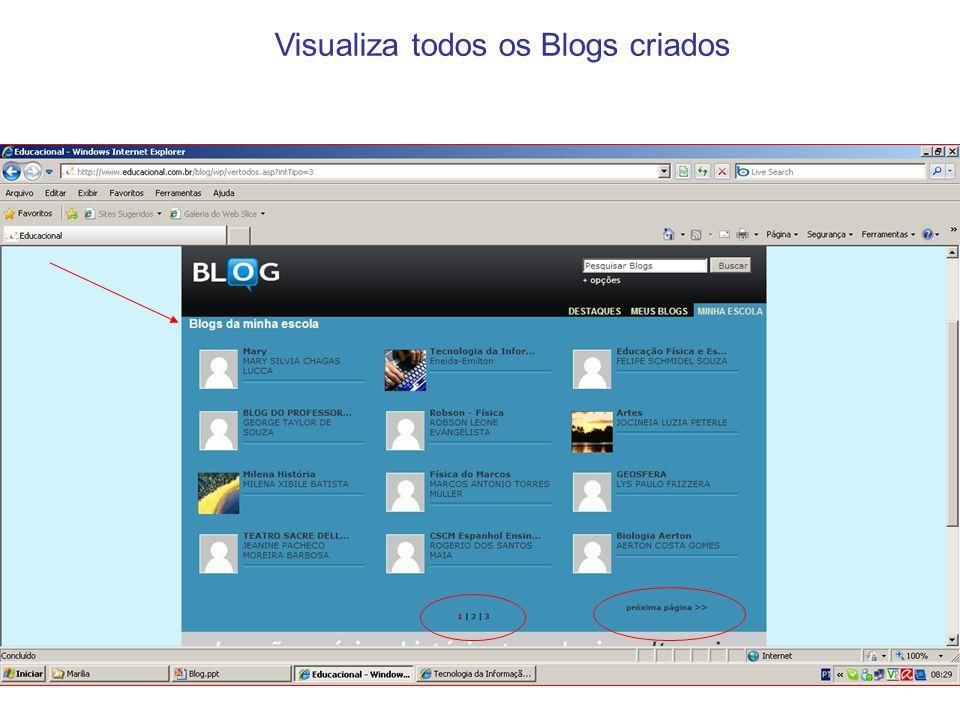 Visualiza todos os Blogs criados