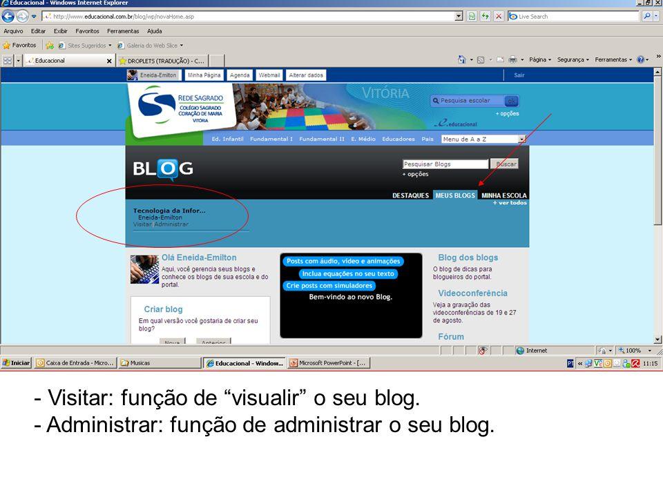 - Visitar: função de visualir o seu blog. - Administrar: função de administrar o seu blog.