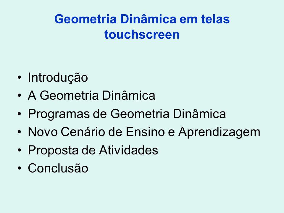 Geometria Dinâmica em telas touchscreen Introdução A Geometria Dinâmica Programas de Geometria Dinâmica Novo Cenário de Ensino e Aprendizagem Proposta