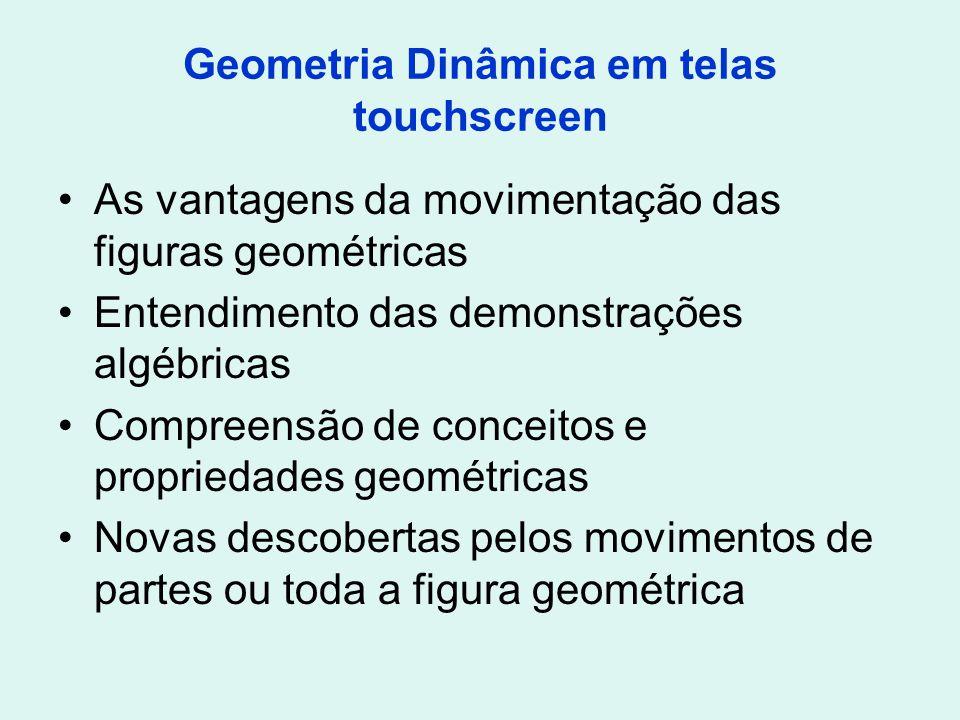 Geometria Dinâmica em telas touchscreen As vantagens da movimentação das figuras geométricas Entendimento das demonstrações algébricas Compreensão de