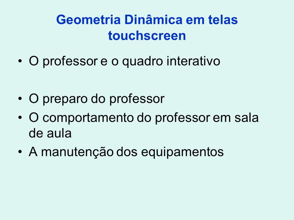 Geometria Dinâmica em telas touchscreen O professor e o quadro interativo O preparo do professor O comportamento do professor em sala de aula A manute