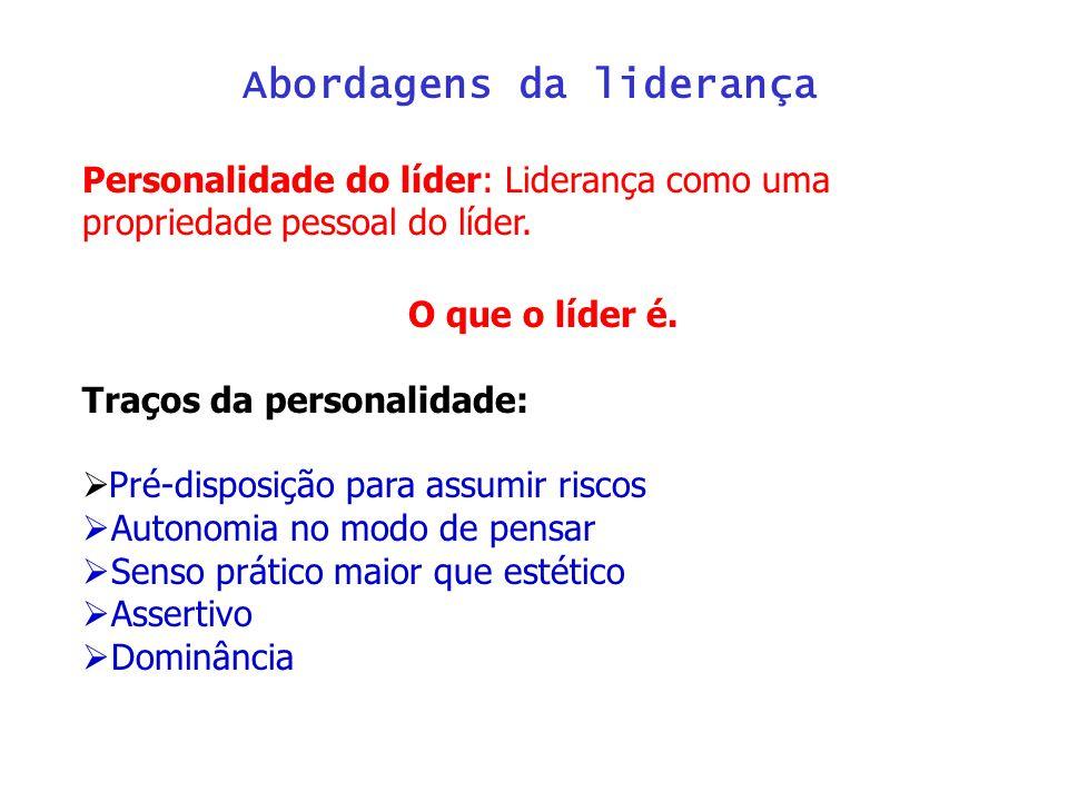 Abordagens da liderança Personalidade do líder: Liderança como uma propriedade pessoal do líder.