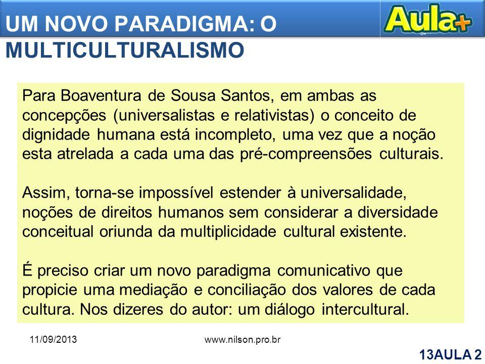 UM NOVO PARADIGMA: O MULTICULTURALISMO Para Boaventura de Sousa Santos, em ambas as concepções (universalistas e relativistas) o conceito de dignidade