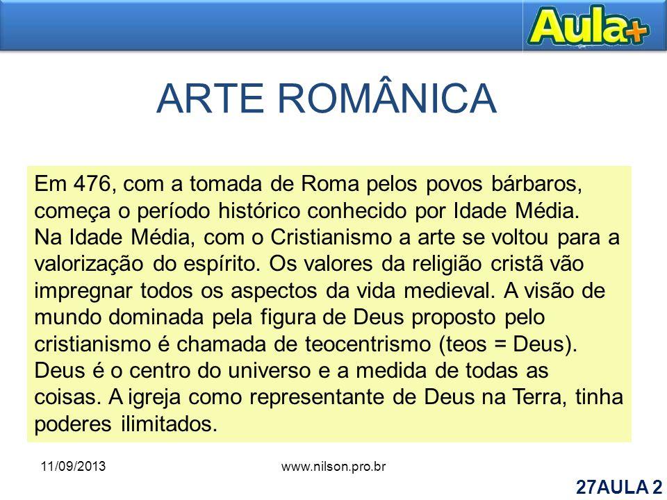 ARTE ROMÂNICA Em 476, com a tomada de Roma pelos povos bárbaros, começa o período histórico conhecido por Idade Média. Na Idade Média, com o Cristiani
